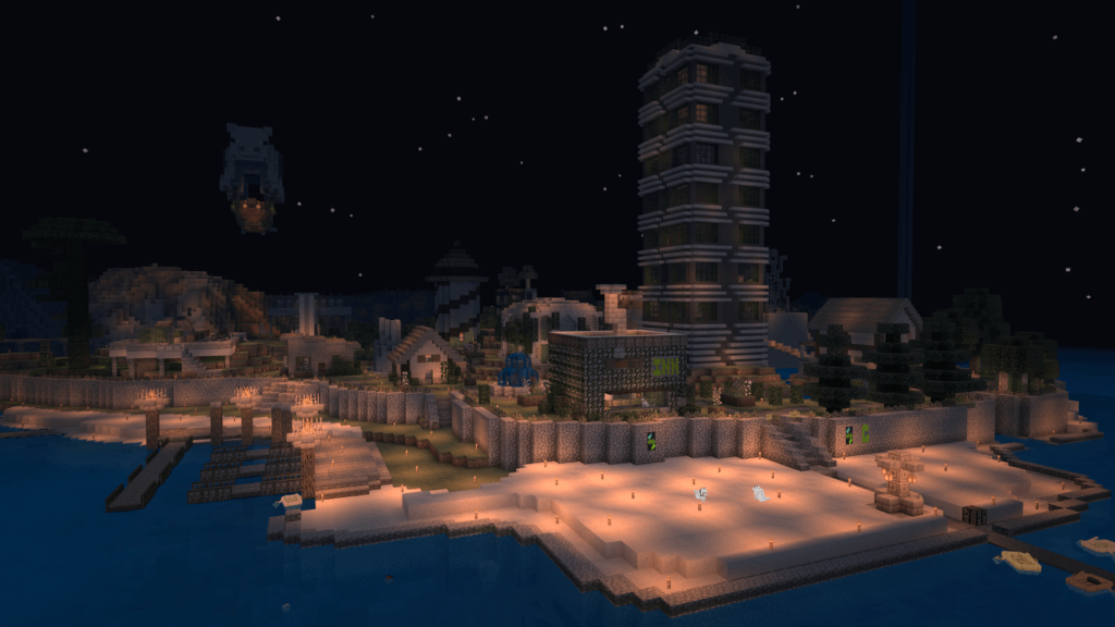 EverCraft v1 - Greenstone Waterfront at night